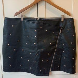 Forever 21+ Faux Leather Studded Moto Mini Skirt